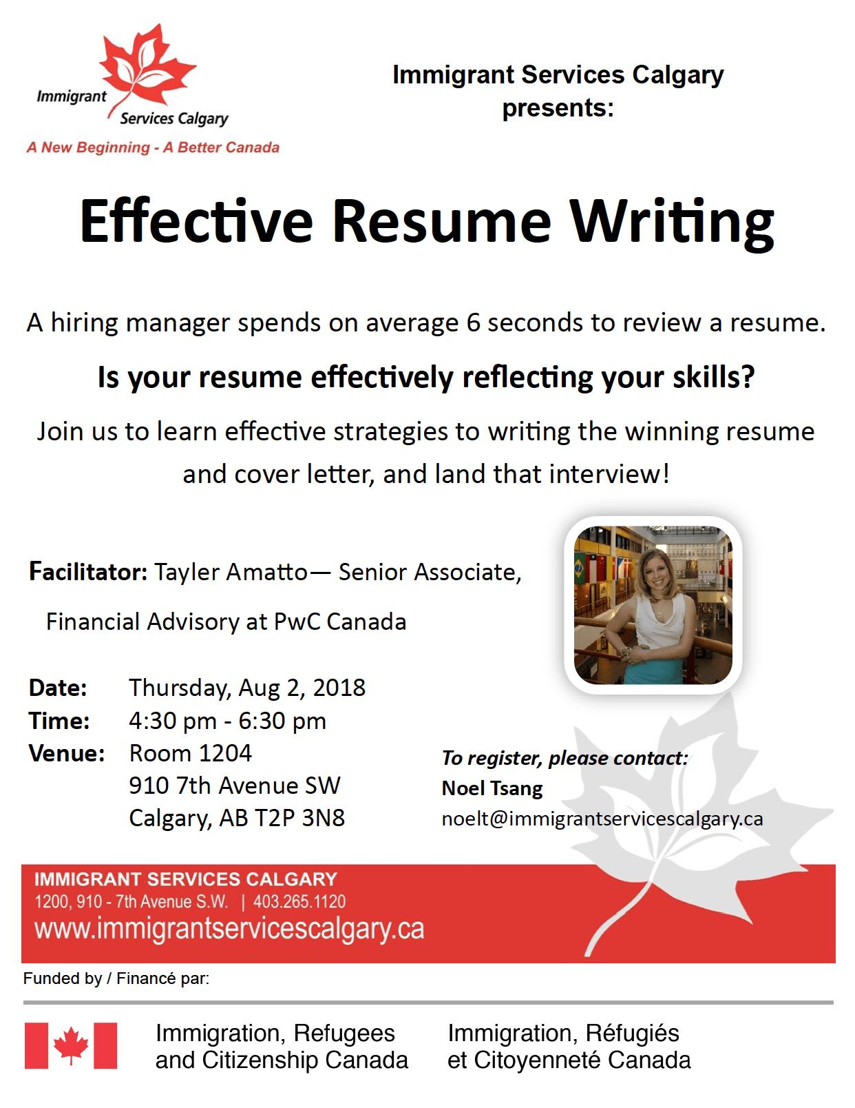 Effective Resume Writing Workshop Settlement Calgary