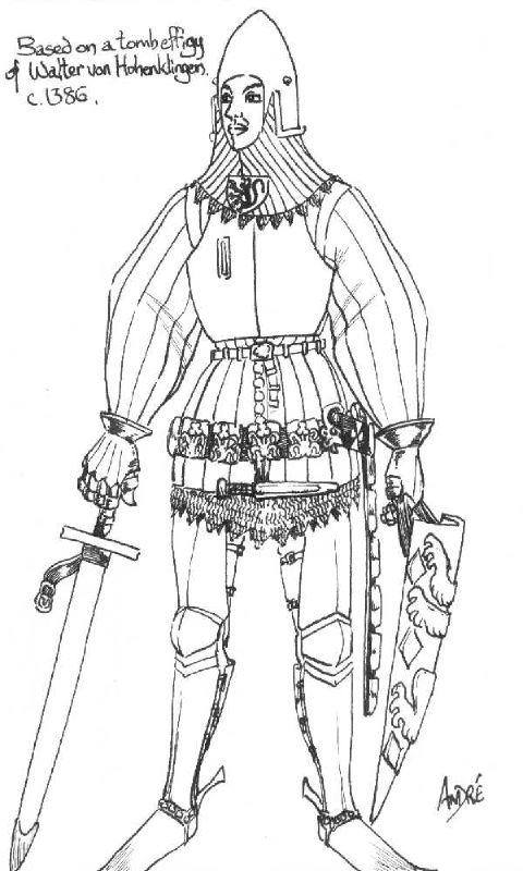 Sketch of 15th c tomb effigy