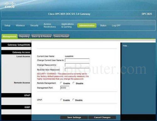 Cisco DPC3825 Screenshots