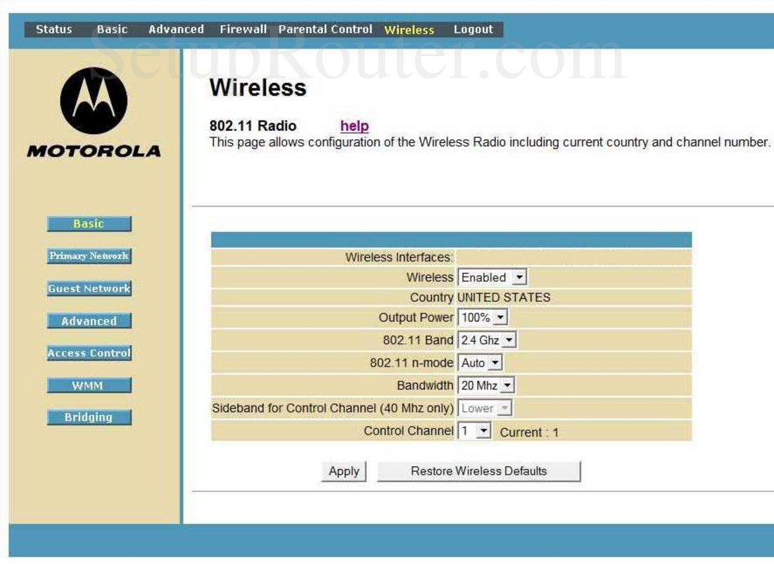 Motorola SBG6580 Screenshot Wireless Basic