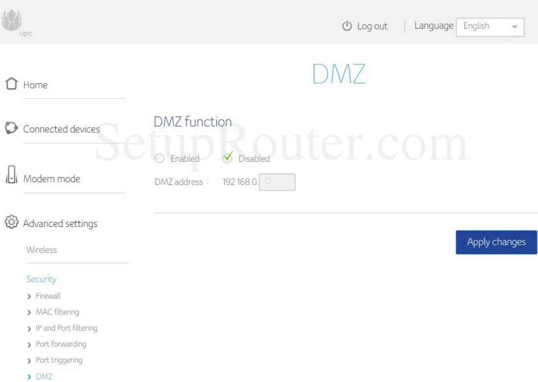 Upc Connect Box Screenshot Dmz