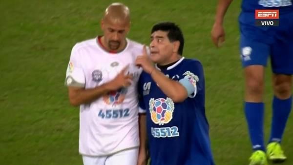 Maradona discutió feo con Verón, en el partido por la paz