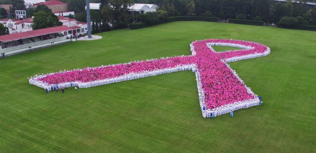IMSS rompen récord mundial al formar gigantesco lazo rosa