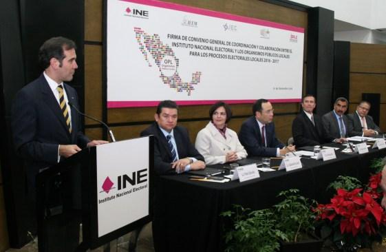 Firma IEEM convenio con INE para la elección de gobernador 2016-2017