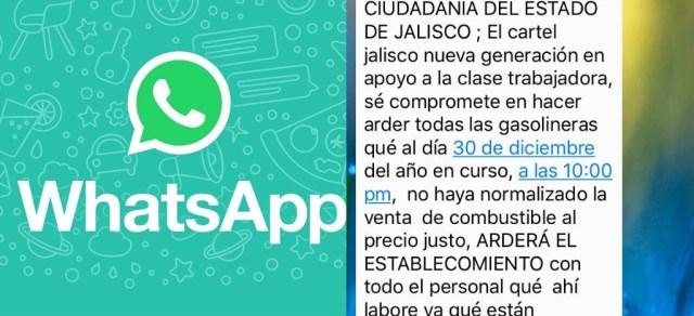 Amenaza presuntamente CJNG gasolineras en Jalisco