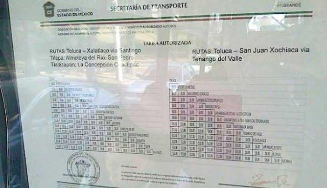 Transporte de Toluca falsifica tarifas para aumentar pasaje