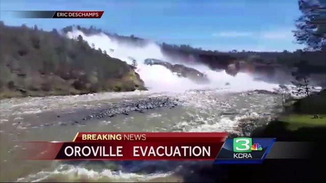 Ordenan evacuación de áreas cercanas a la presa de Oroville en California