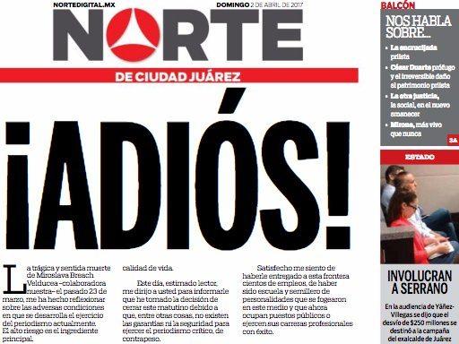 'Norte' de Ciudad Juárez cierra por inseguridad
