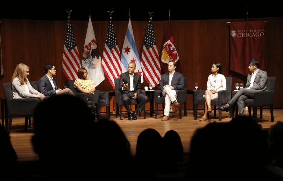 Obama apareció en Univerdidad de Chicago