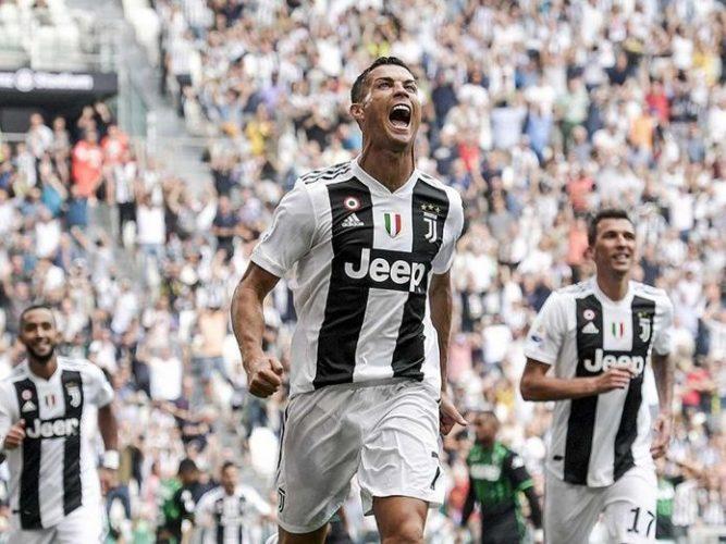 Cristiano Ronaldo anota su primer gol en la Serie A