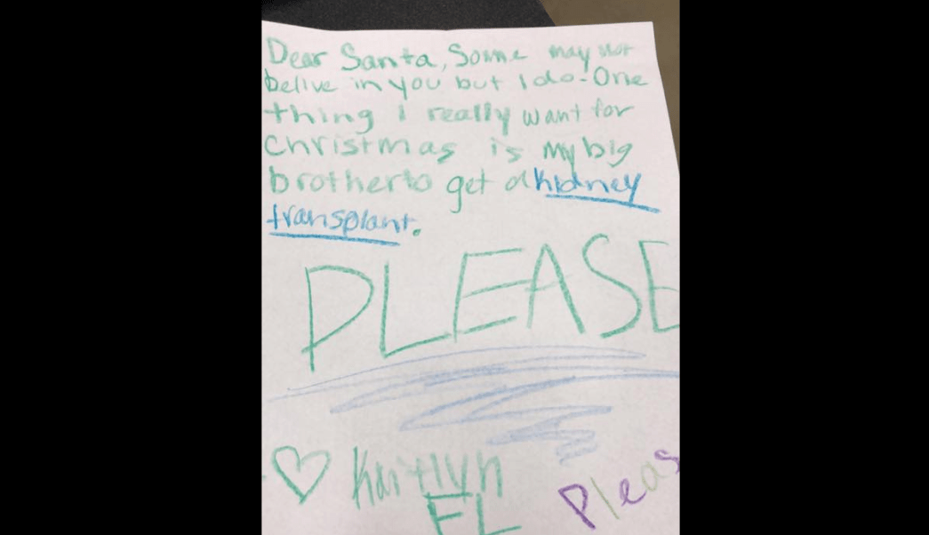 Le pide a Santa Claus un riñón para su hermano