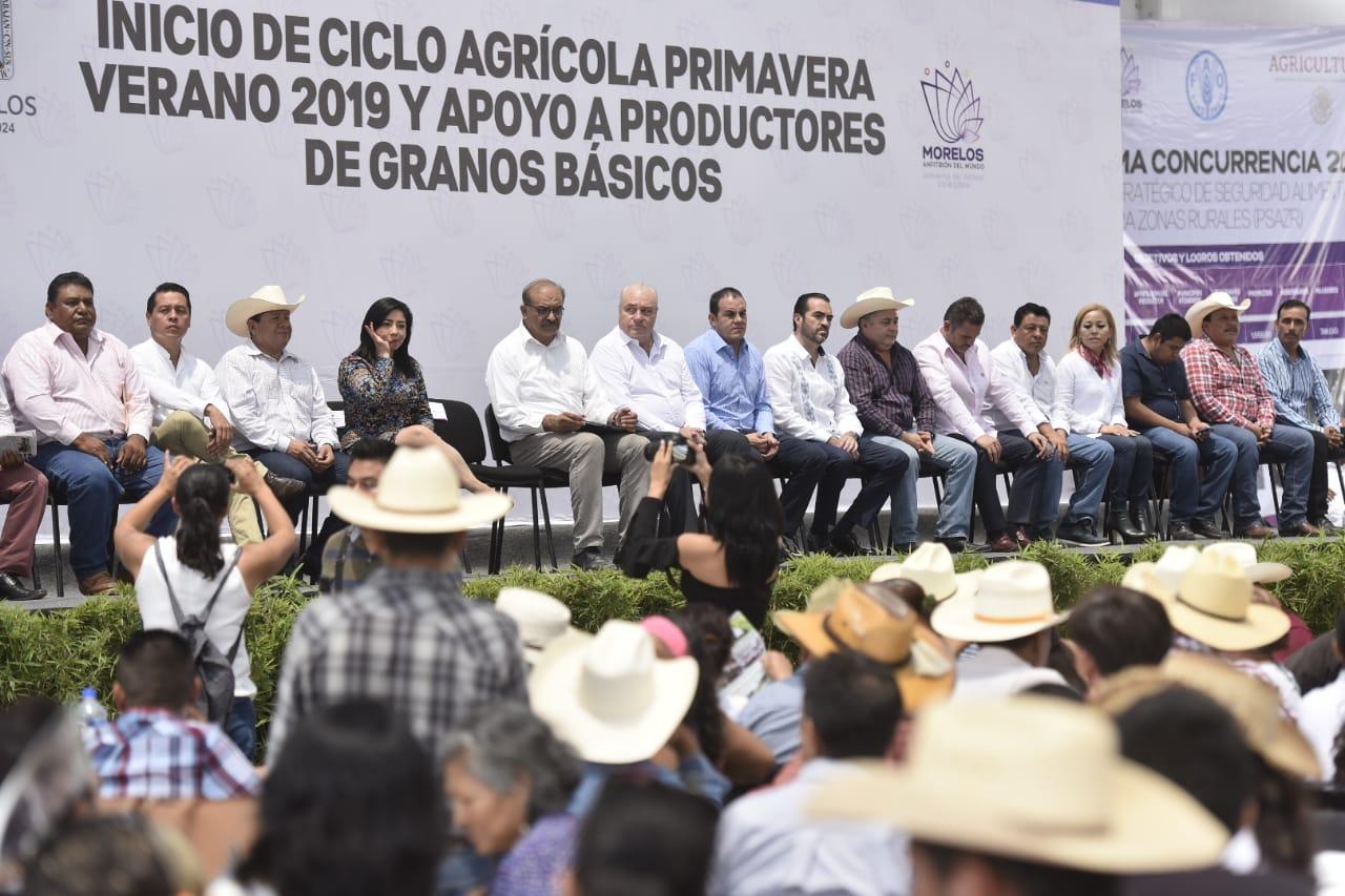 Entregan apoyos a productores de granos básicos, en Tepalcingo