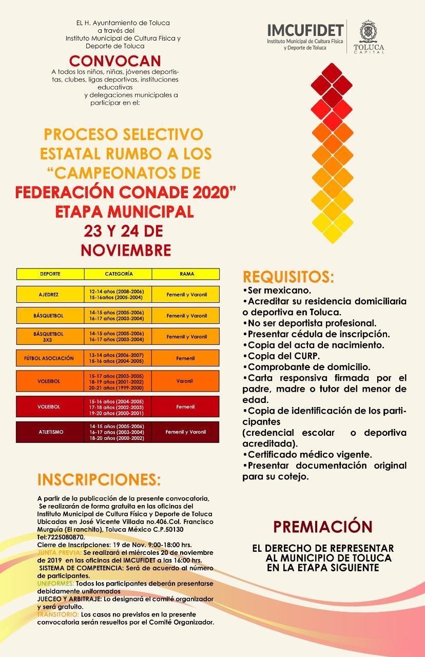 """Convoca IMCUFIDET a los """"Campeonatos de Federación Conade 2020"""""""