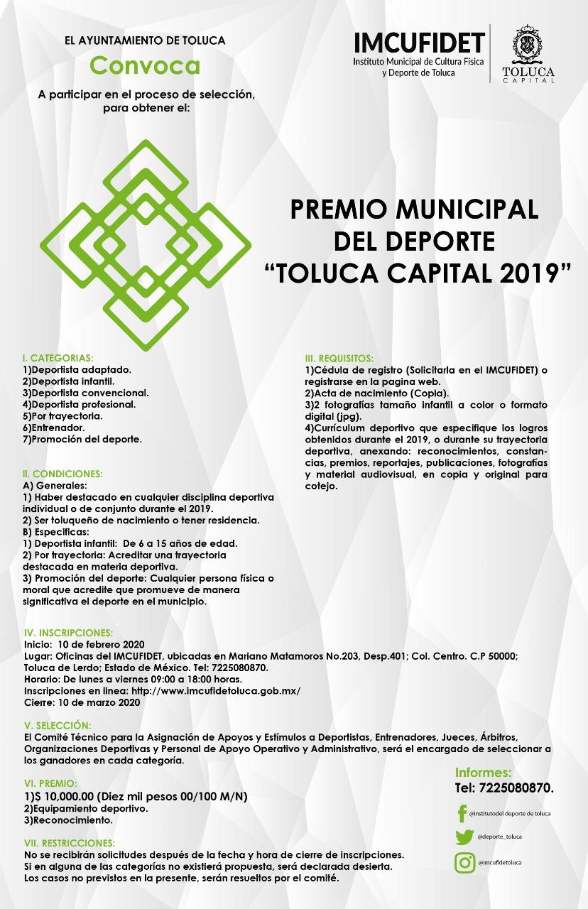 "Lanzan convocatoria para el Premio Municipal del Deporte ""Toluca Capital 2019"""