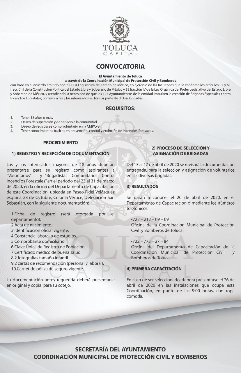 Invita Toluca a formar brigadas comunitarias contra incendios forestales
