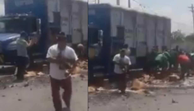 Camión repartidor tira cartones de cerveza y rapiña no espera