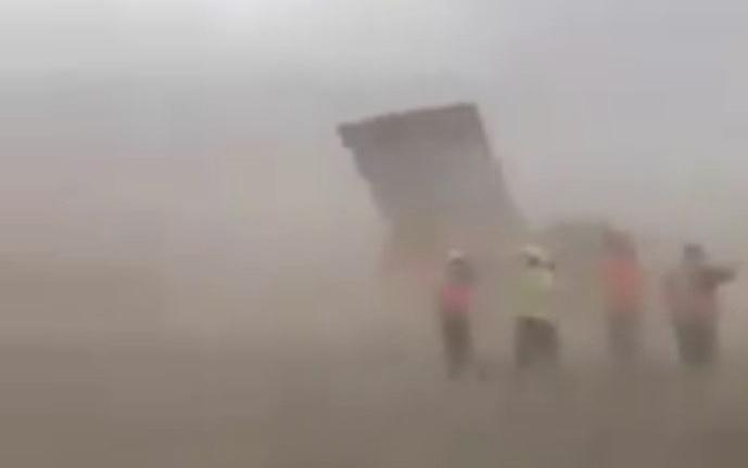 El video de la caída del muro entre México y EEUU es anterior al paso del huracán Hanna