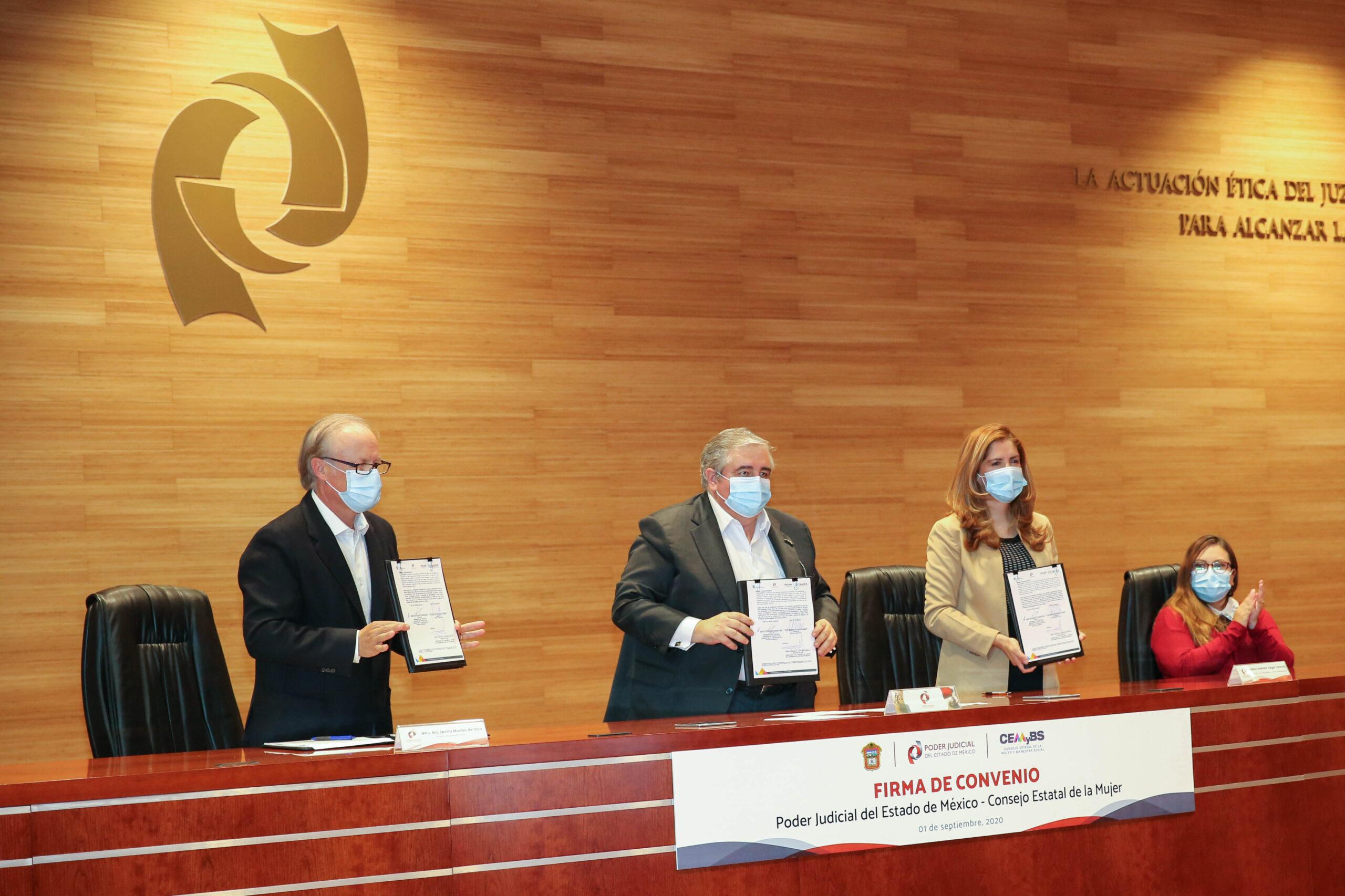 Firman convenios PJEDOMEX - CEMyBS para atender violencia vs mujeres
