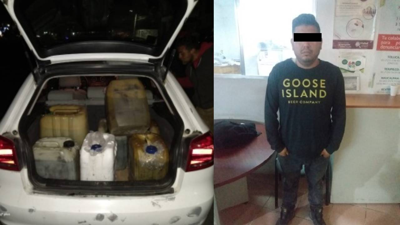 Policías de Ecatepec aseguran a vendedores de 'huachicol'; decomisan 170 litros de gasolina