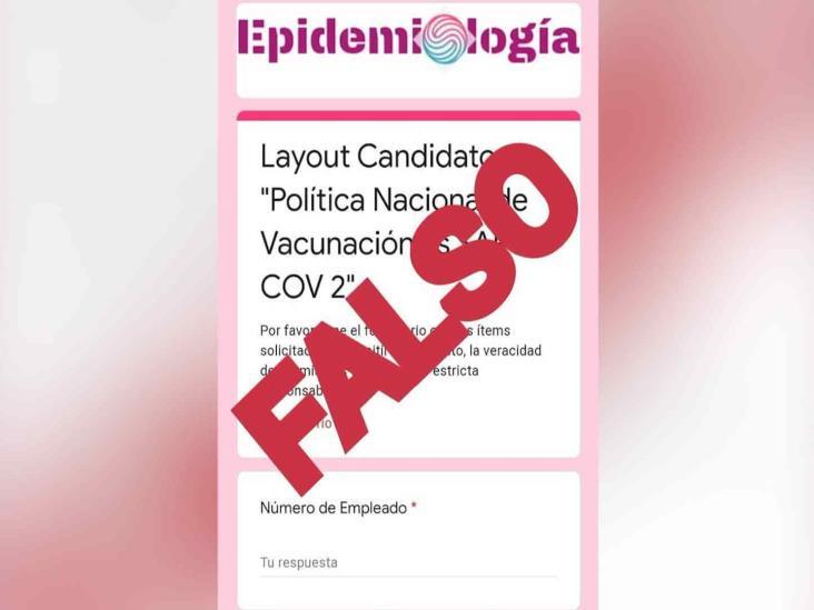 Secretaría de Salud federal alerta sobre falso formulario para vacuna contra COVID19