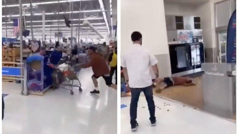 VIDEO: ¡KO! Cliente escupe a empleado de Walmart y este lo noquea