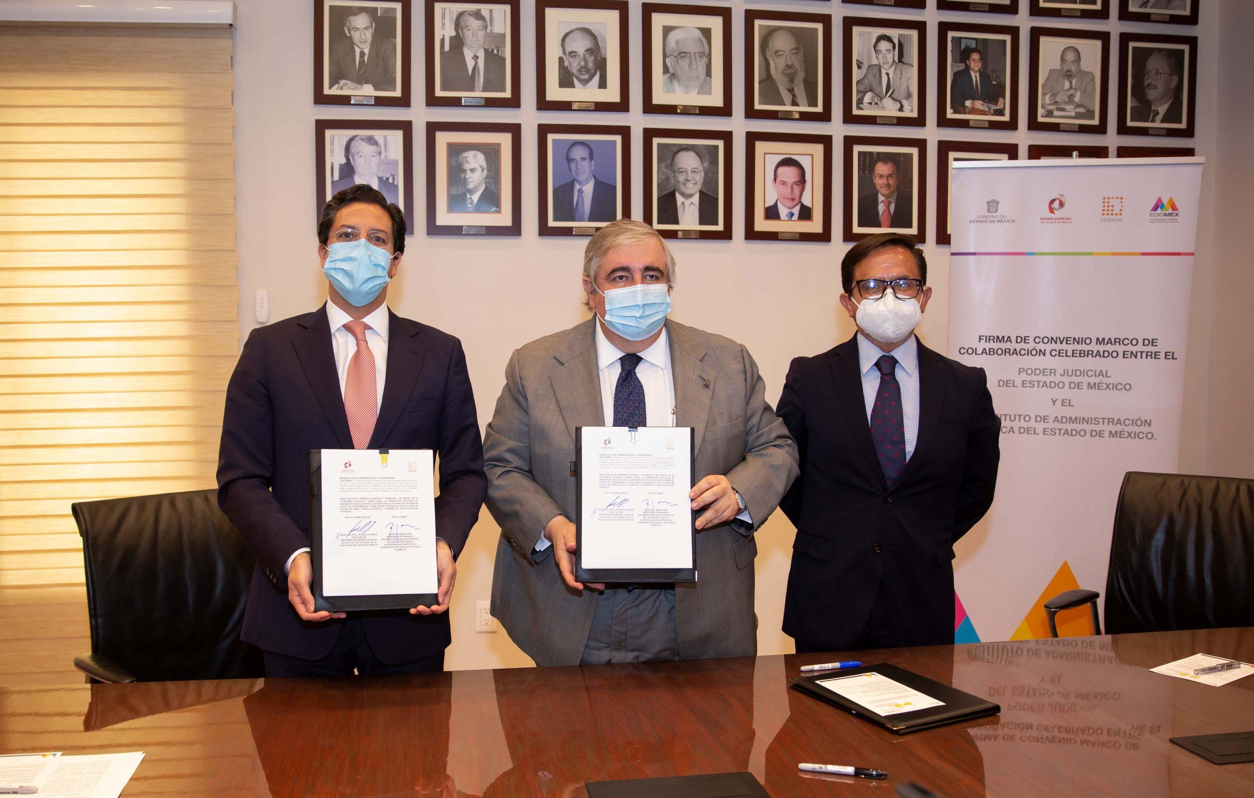 Signan convenio el poder judicial mexiquense y  la secretaría de finanzas