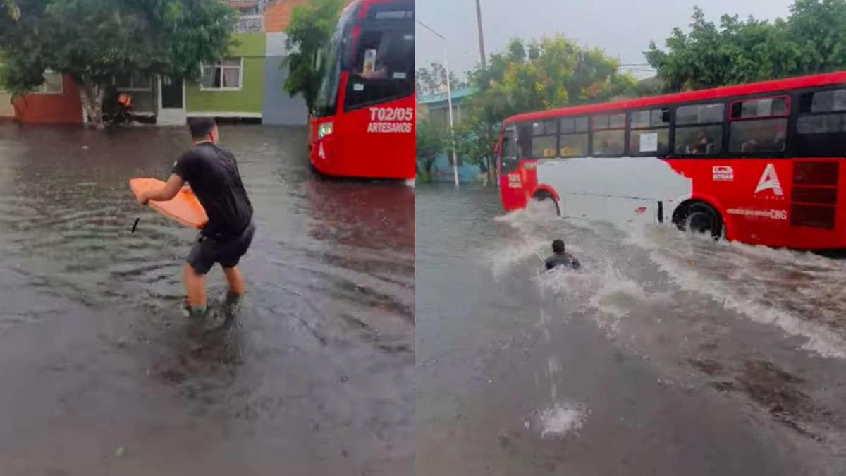 #VIDEO Calles de Guadalajara se inundan y joven trata de surfear