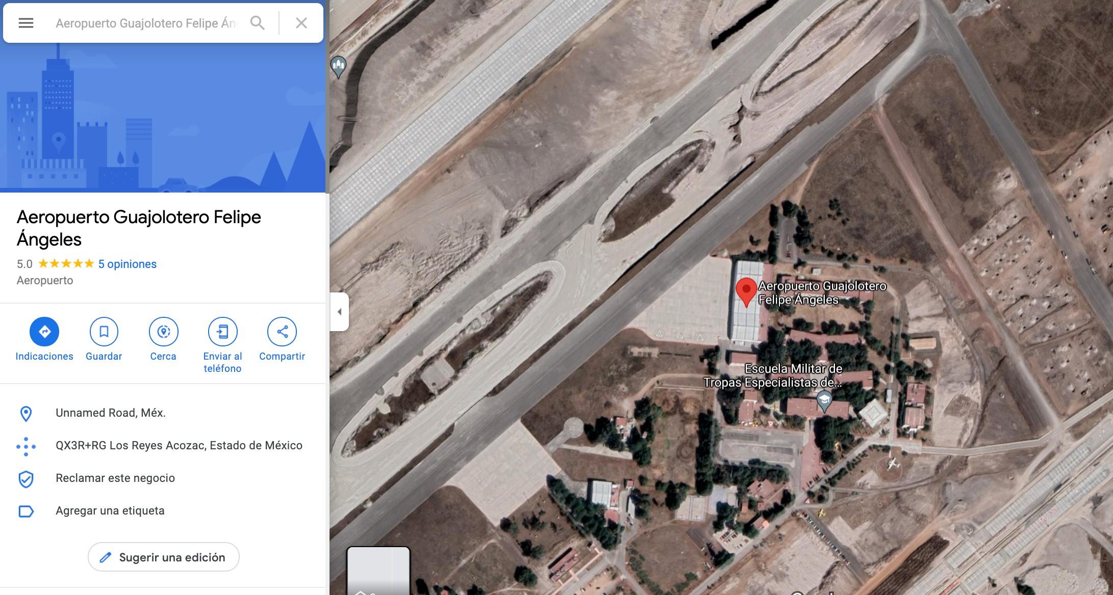 """Cambian en Google Maps el nombre de Santa Lucía por """"Aeropuerto Guajolotero"""""""