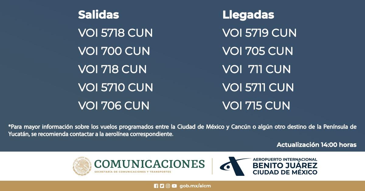 10 vuelos fueron cancelados entre Aeropuerto de la CDMX y Cancún