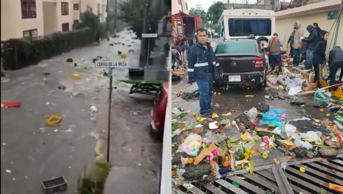 """Tianguis """"desaparece"""" en Tlalnepantla tras fuertes lluvias (video)"""