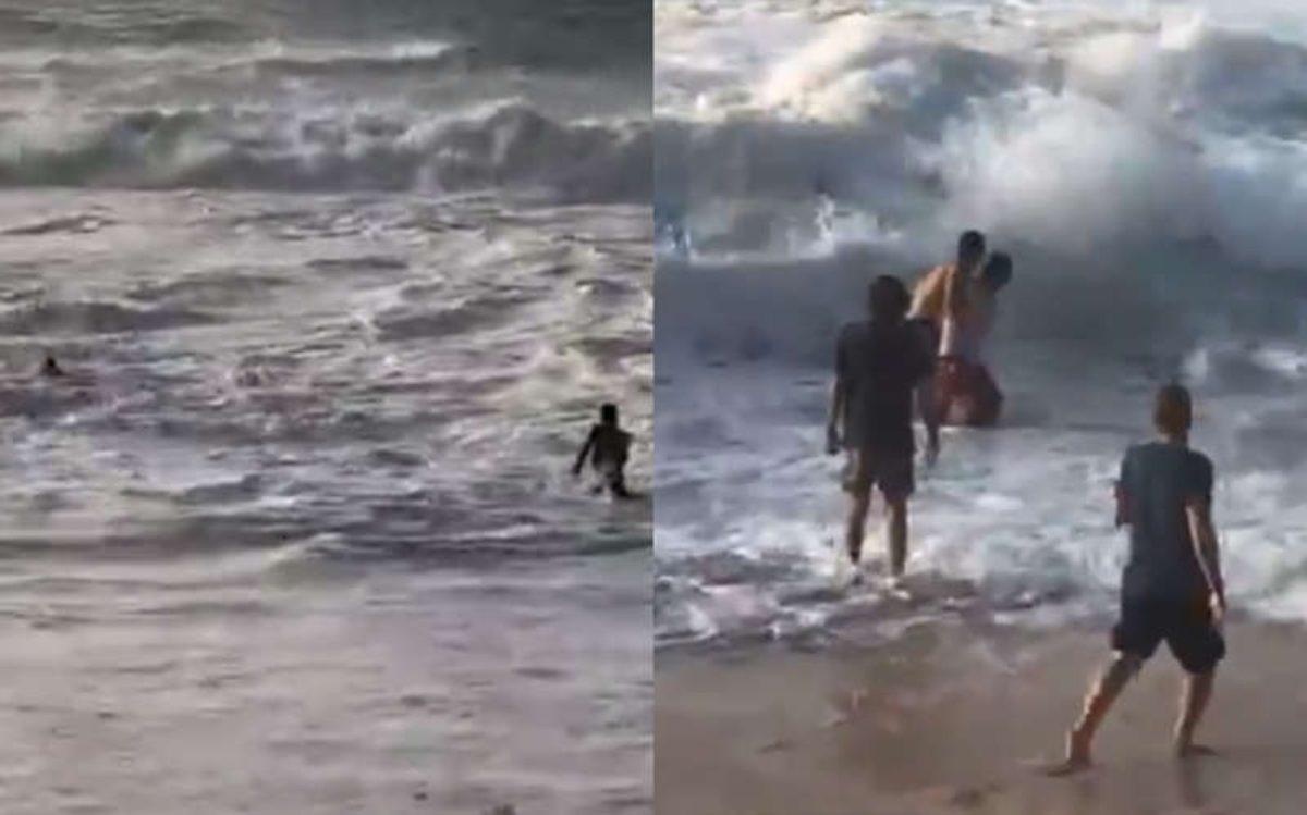 #VIDEO Par de surfistas rescata a mujer de morir ahogada en Estados Unidos