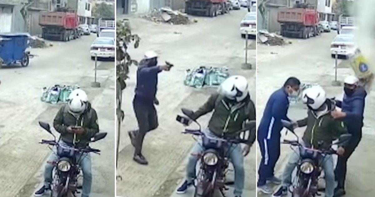 #VIDEO ¡Héroes sin capa! Albañiles avientan bulto de cemento a delincuentes y frustran asalto