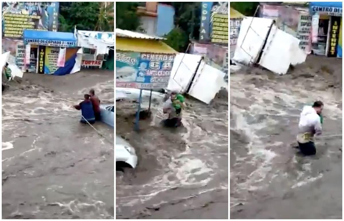 Así rescatan a bebé tras las fuertes lluvias registradas en Ecatepec (VIDEO)