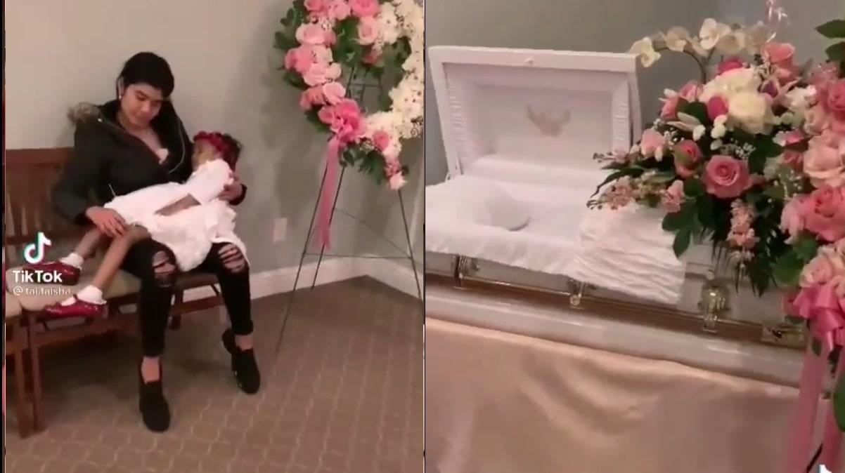 Mujer abraza por última vez el cuerpecito de su hija (VIDEO)