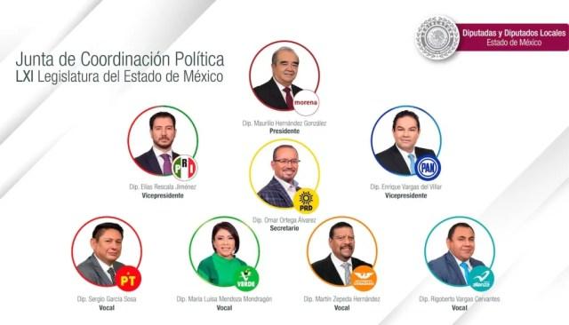 La LXI Legislatura del Estado de México aprobó por unanimidad la integración de la Junta de Coordinación Política (Jucopo)