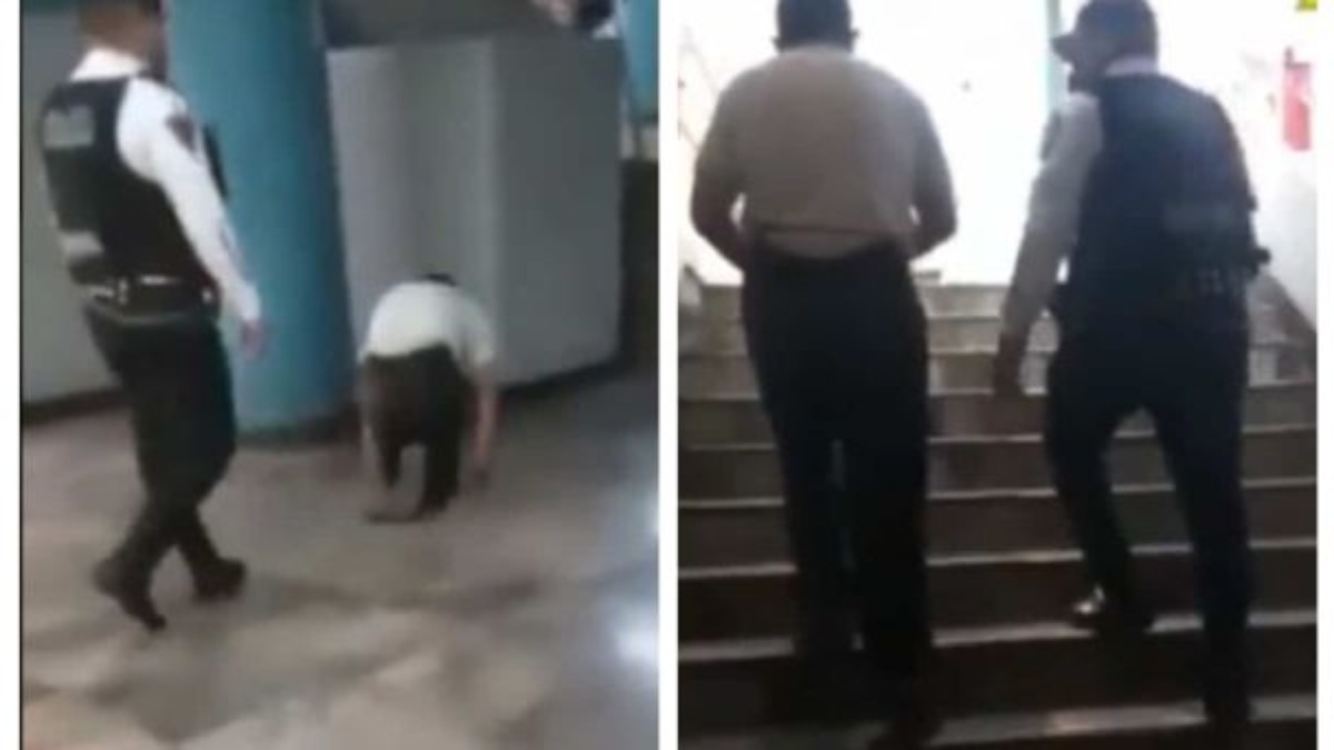 Hombre finge no poder caminar y sale de estación del metro a pie
