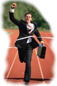 Hombre corriendo, Triunfando, Llegar a la meta, Ganar