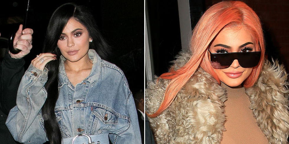 Kylie decided to try out a familiar hair color on a night out in NYC last night, wearing a long pastel orange wig that totally lookedlike a scoop of sherbet ice cream. She rocked the same wig at Coachella last yearand it looks just as flawless the second time around.
