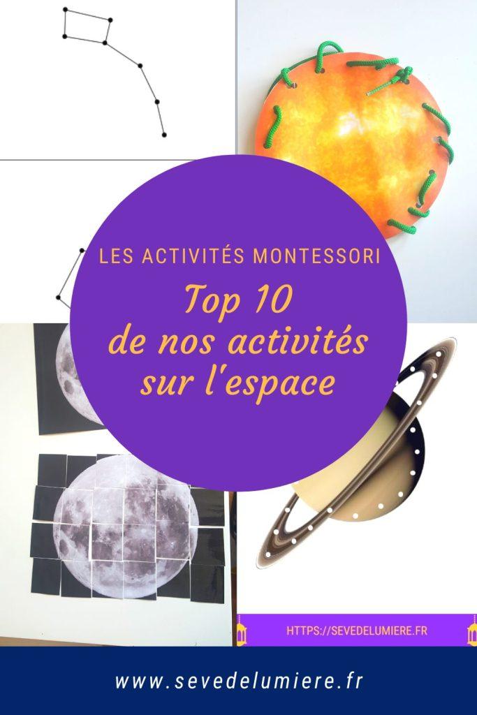 Activités sur l'espace d'inspiration Montessori. Faites découvrir à vos enfants les mystères et l'immensité de l'espace ! #activitémontessori #montessori #activitésenfants