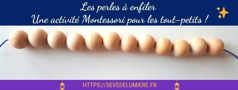 Perles à enfiler. Une activité Montessori pour les tout-petits. #montessori #perlesenfant #perlesMontessori