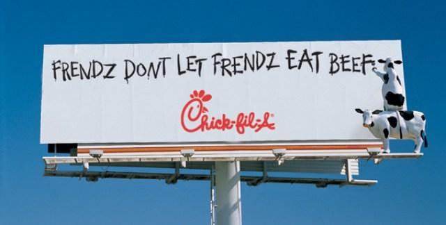 Креативная реклама. Eat Mor Chikin Cowz. Frendz dont let frendz eat beef