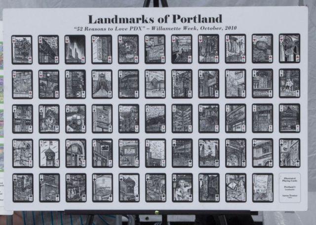 Saturday Market. Сувенирные игральные карты, нарисованные от руки, с видами Портленда