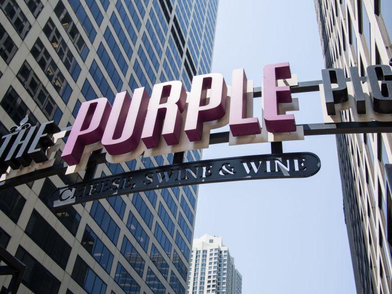 Чикаго. Кафе Фиолетовый поросенок. Chicago Purple Pig
