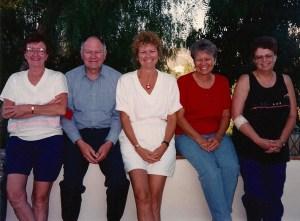 Clemens siblings: Carleen, Gordon (Larry), Catherine (Cathy), Liz (Betty), Claudia, 1993