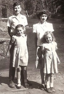 rear: Larry and Carleen, front: Betty and Claudia, 1948, Yosemite