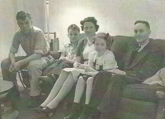 Day family: George Jr, Jimmy, Aunt Verda, Marceline, Uncle George in Watsonville, circa 1939