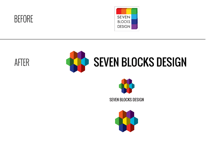 Seven Blocks Design Logo - Before & After (New Brand New Site)