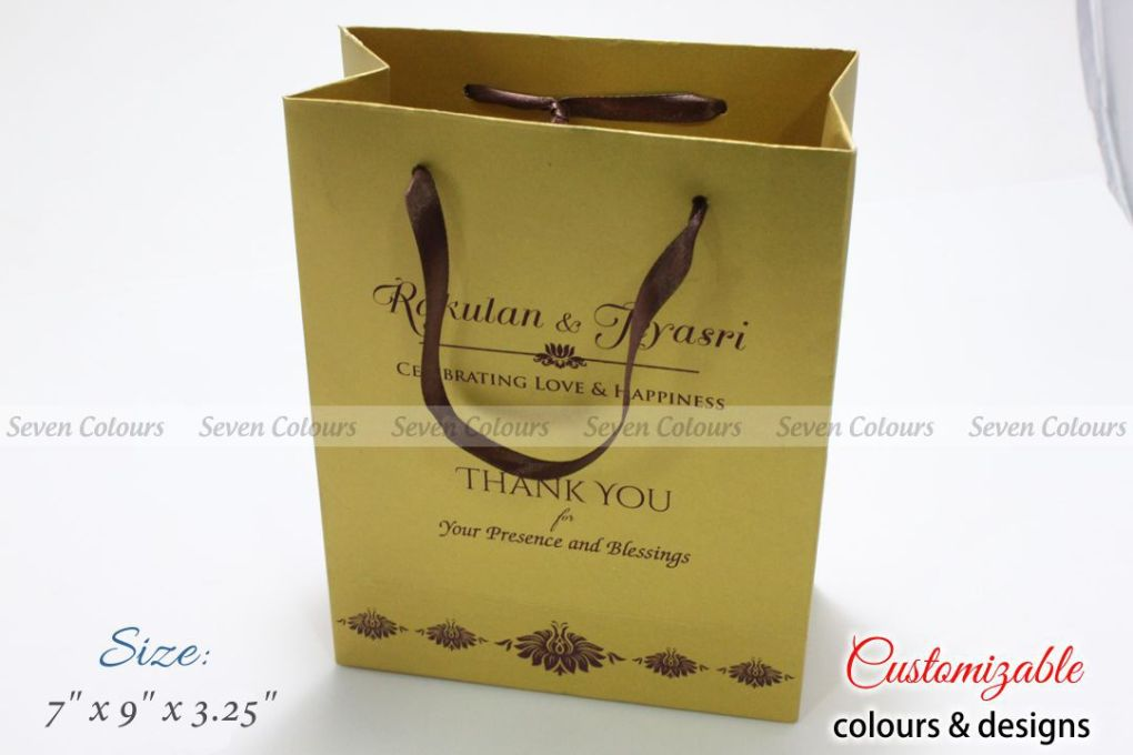 Golden paper wedding gift bag
