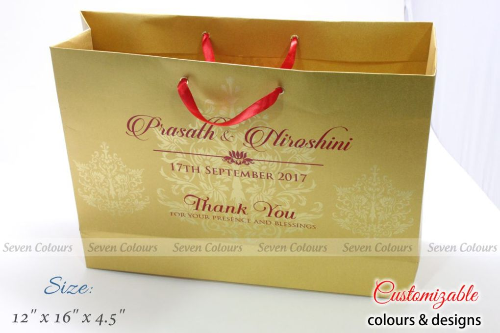 Golden colour large wedding gift bags