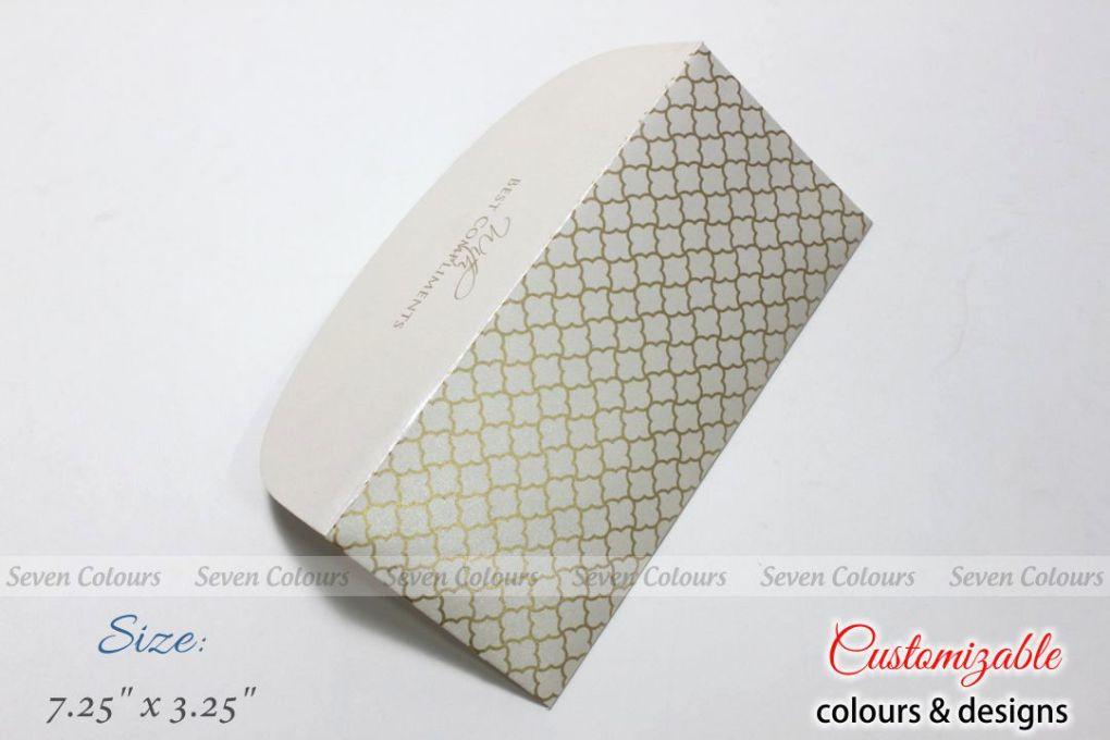 White jaali design money envelopes for wedding gift